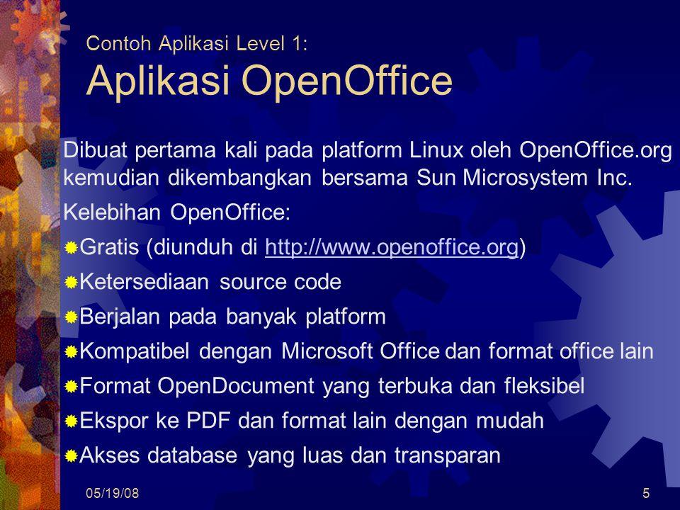 05/19/085 Contoh Aplikasi Level 1: Aplikasi OpenOffice Dibuat pertama kali pada platform Linux oleh OpenOffice.org kemudian dikembangkan bersama Sun Microsystem Inc.