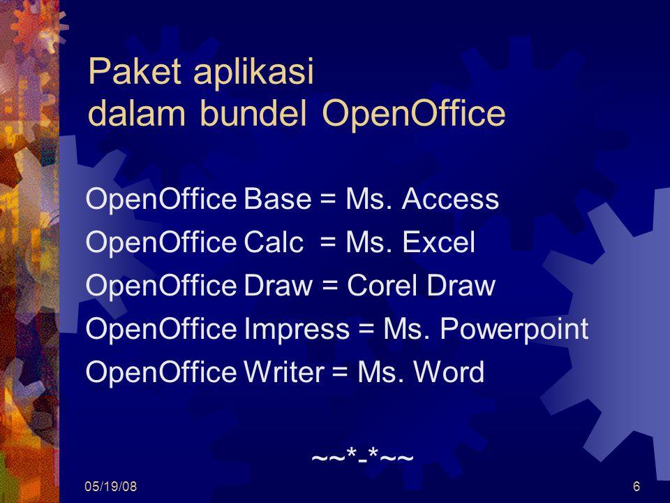 05/19/086 Paket aplikasi dalam bundel OpenOffice OpenOffice Base = Ms. Access OpenOffice Calc = Ms. Excel OpenOffice Draw = Corel Draw OpenOffice Impr