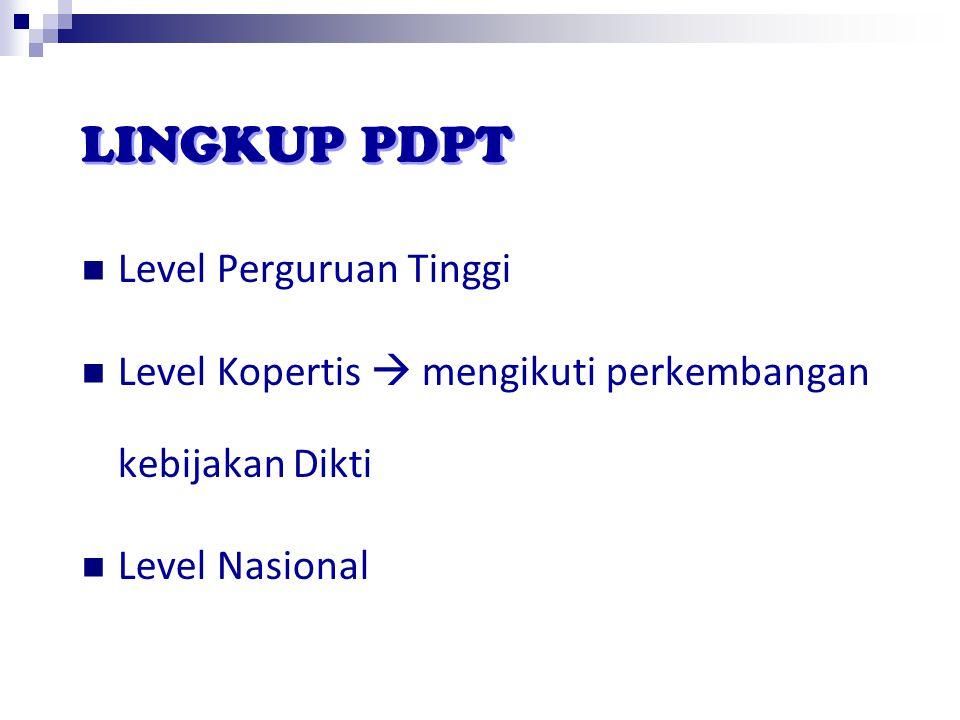 Level Perguruan Tinggi Level Kopertis  mengikuti perkembangan kebijakan Dikti Level Nasional LINGKUP PDPT