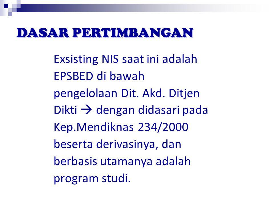 Exsisting NIS saat ini adalah EPSBED di bawah pengelolaan Dit. Akd. Ditjen Dikti  dengan didasari pada Kep.Mendiknas 234/2000 beserta derivasinya, da