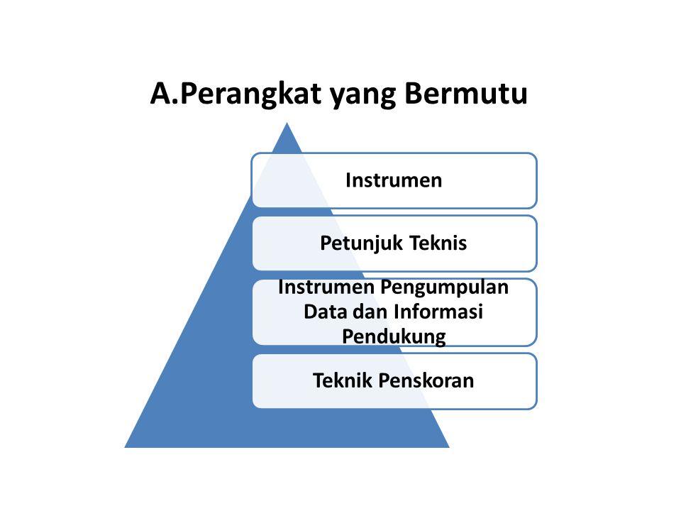 A.Perangkat yang Bermutu InstrumenPetunjuk Teknis Instrumen Pengumpulan Data dan Informasi Pendukung Teknik Penskoran