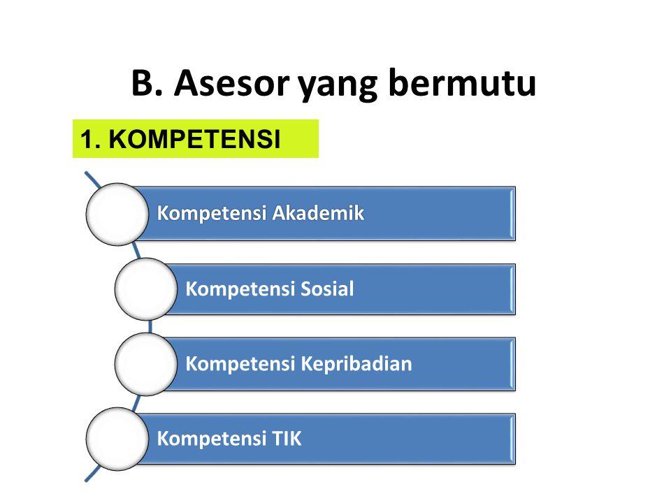 B. Asesor yang bermutu Kompetensi Akademik Kompetensi Sosial Kompetensi Kepribadian Kompetensi TIK 1. KOMPETENSI