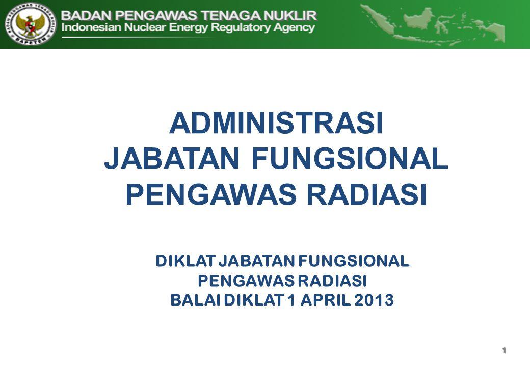 1 ADMINISTRASI JABATAN FUNGSIONAL PENGAWAS RADIASI DIKLAT JABATAN FUNGSIONAL PENGAWAS RADIASI BALAI DIKLAT 1 APRIL 2013