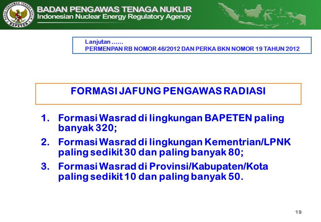 FORMASI JAFUNG PENGAWAS RADIASI 19 1.Formasi Wasrad di lingkungan BAPETEN paling banyak 320; 2.Formasi Wasrad di lingkungan Kementrian/LPNK paling sed