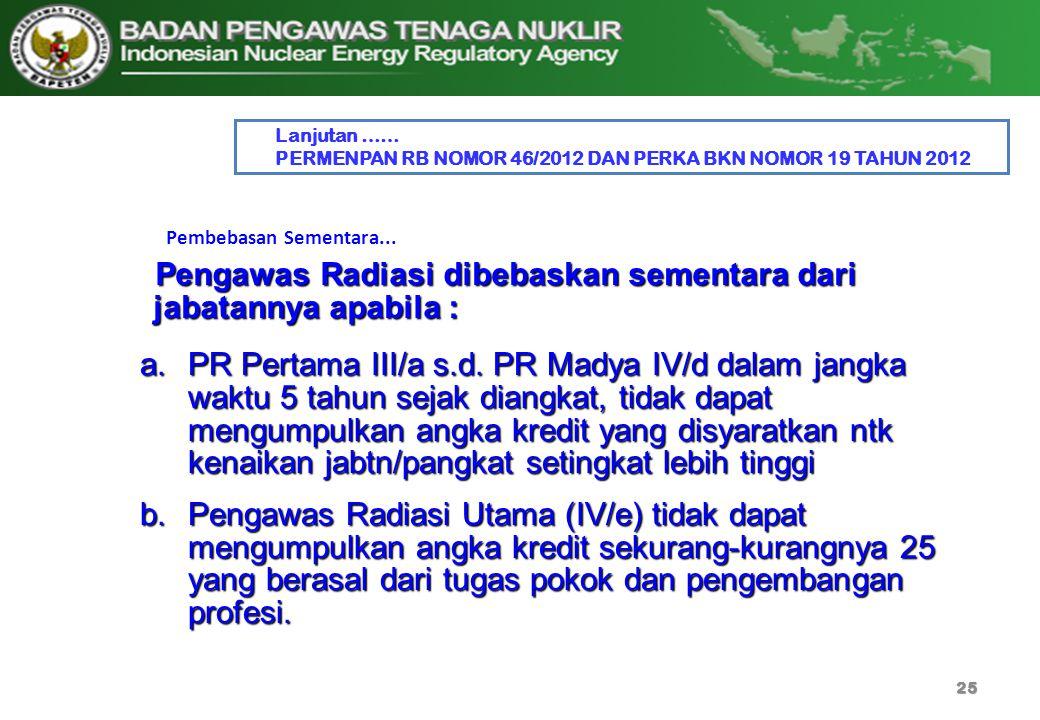 25 Pembebasan Sementara... a.PR Pertama III/a s.d. PR Madya IV/d dalam jangka waktu 5 tahun sejak diangkat, tidak dapat mengumpulkan angka kredit yang