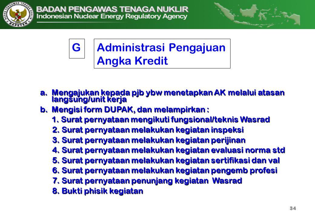 Administrasi Pengajuan Angka Kredit a.Mengajukan kepada pjb ybw menetapkan AK melalui atasan langsung/unit kerja b.Mengisi form DUPAK, dan melampirkan