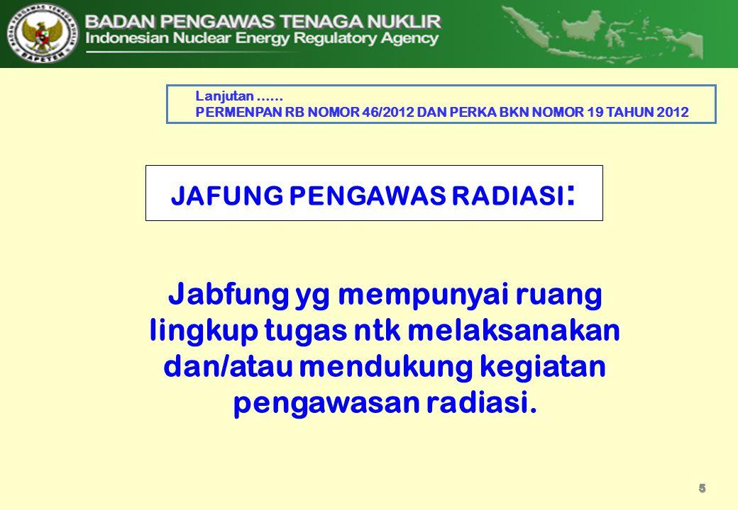 JAFUNG PENGAWAS RADIASI : Jabfung yg mempunyai ruang lingkup tugas ntk melaksanakan dan/atau mendukung kegiatan pengawasan radiasi. 5 Lanjutan …… PERM
