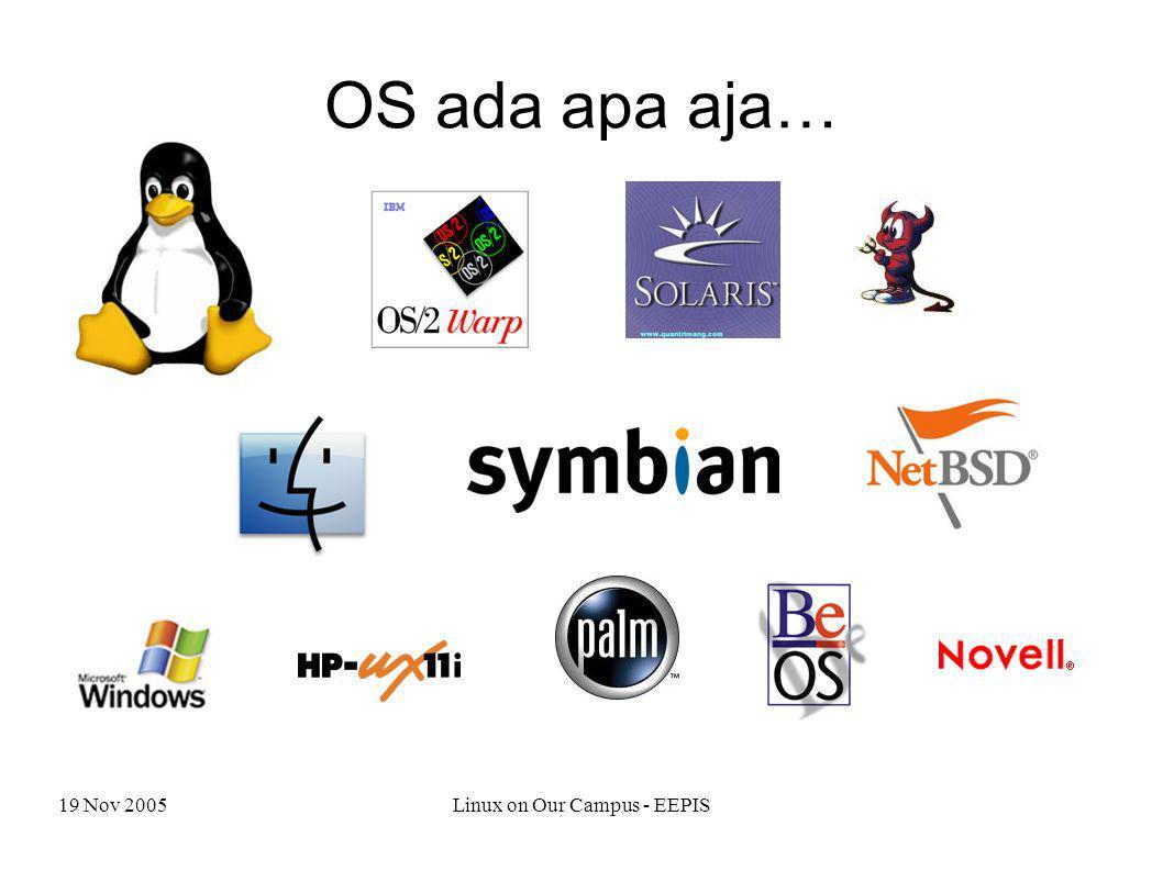19 Nov 2005Linux on Our Campus - EEPIS OS ada apa aja…