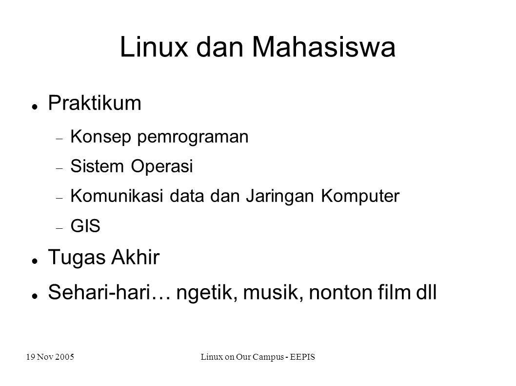 19 Nov 2005Linux on Our Campus - EEPIS Linux dan Mahasiswa Praktikum  Konsep pemrograman  Sistem Operasi  Komunikasi data dan Jaringan Komputer  GIS Tugas Akhir Sehari-hari… ngetik, musik, nonton film dll