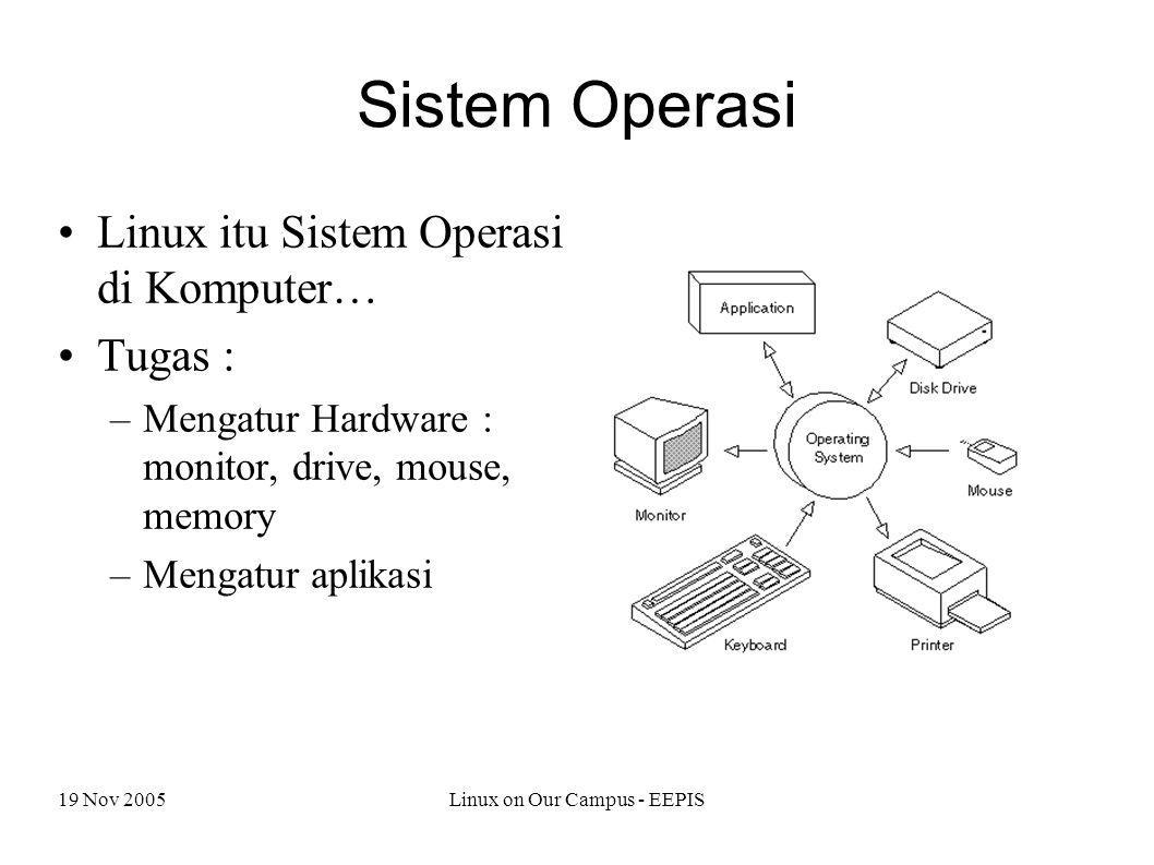 19 Nov 2005Linux on Our Campus - EEPIS Sistem Operasi Linux itu Sistem Operasi di Komputer… Tugas : –Mengatur Hardware : monitor, drive, mouse, memory –Mengatur aplikasi