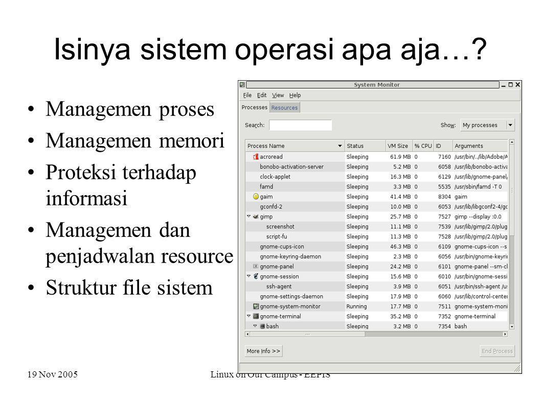 19 Nov 2005Linux on Our Campus - EEPIS Isinya sistem operasi apa aja…? Managemen proses Managemen memori Proteksi terhadap informasi Managemen dan pen
