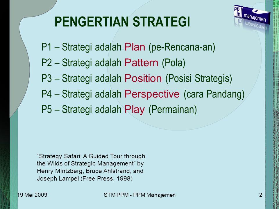 19 Mei 2009STM PPM - PPM Manajemen2 PENGERTIAN STRATEGI P1 – Strategi adalah Plan (pe-Rencana-an) P2 – Strategi adalah Pattern (Pola) P3 – Strategi adalah Position (Posisi Strategis) P4 – Strategi adalah Perspective (cara Pandang) P5 – Strategi adalah Play (Permainan) Strategy Safari: A Guided Tour through the Wilds of Strategic Management by Henry Mintzberg, Bruce Ahlstrand, and Joseph Lampel (Free Press, 1998)