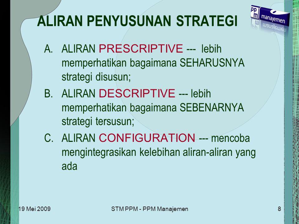 19 Mei 2009STM PPM - PPM Manajemen8 ALIRAN PENYUSUNAN STRATEGI A.ALIRAN PRESCRIPTIVE --- lebih memperhatikan bagaimana SEHARUSNYA strategi disusun; B.ALIRAN DESCRIPTIVE --- lebih memperhatikan bagaimana SEBENARNYA strategi tersusun; C.ALIRAN CONFIGURATION --- mencoba mengintegrasikan kelebihan aliran-aliran yang ada