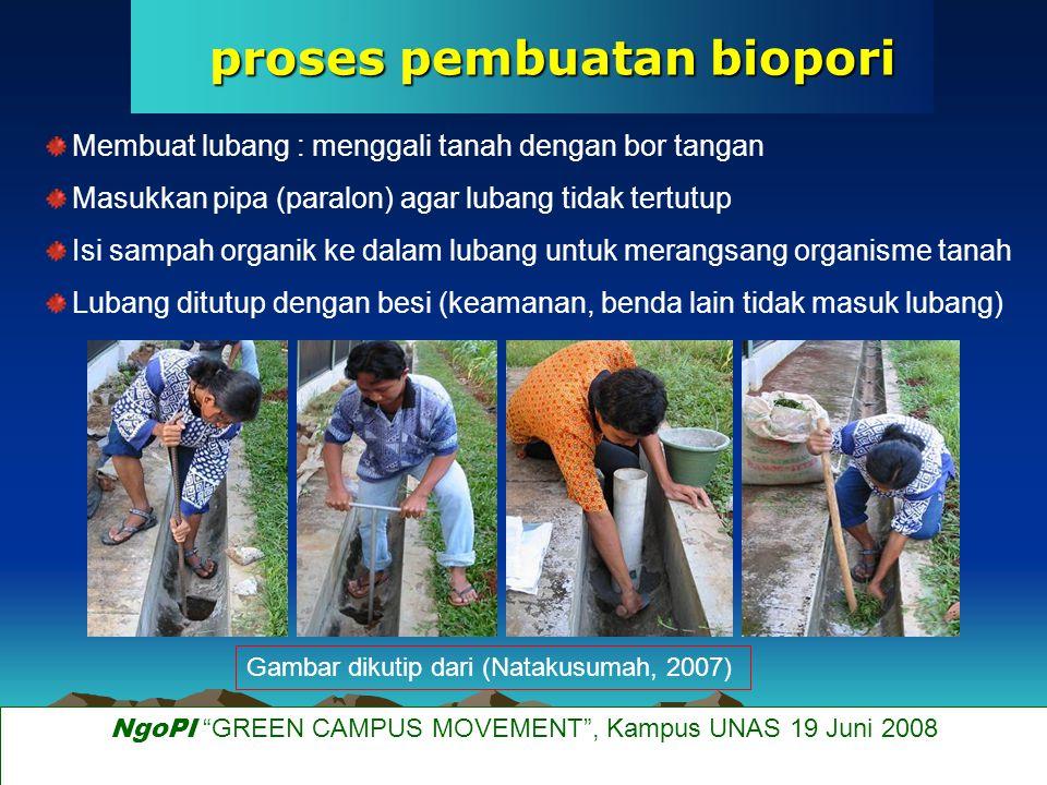 spesifikasi biopori (Tempo, 10 Juni 2007) Posisi biopori : lahan yang tidak terendam air (saat tidak hujan), agar : - organisme tanah tidak kekurangan oksigen - lubang tidak jenuh air Diameter : 10-20 cm Kedalaman : 100 cm Jumlah : - 20 biopori / 100 M 2 luas lahan - 20 biopori / 50 M 2 luas lahan (Natakusumah, 2007) NgoPI GREEN CAMPUS MOVEMENT , Kampus UNAS 19 Juni 2008