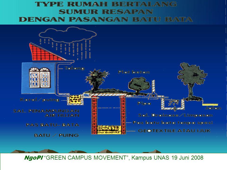Sumur resapan Sumur resapan 2-10 m tergantung jenis dan lapisan tanah bak kontrol sedimen pasangan batu kosong dan ijuk sedimen mengendap di bagian bawah 50 cm NgoPI GREEN CAMPUS MOVEMENT , Kampus UNAS 19 Juni 2008