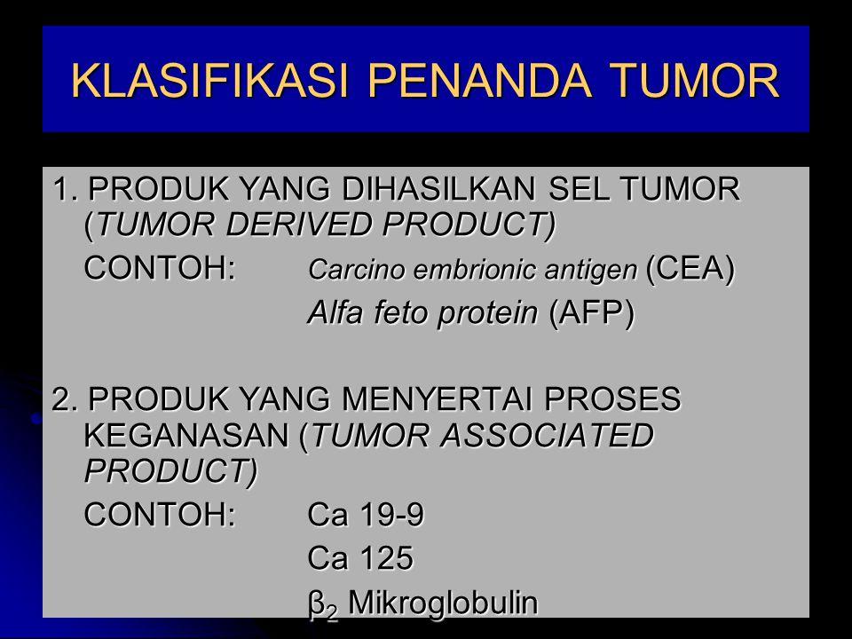 MACAM PENANDA TUMOR DAPAT DI LIHAT DARI TABEL BERIKUT : JENIS PENANDA TUMOR TUMOR ASSOCIATED ANTIGEN ENZIMHORMON PROTEIN SERUM METABOLITES VIRAL ANTIGEN /ANTIBODIES CEA, AFP, SCC, PSA, MCA, Ca 19-9, Ca 15-3, Ca 125, Ca 72-4 Pap, NSE, Gama GT  HCG, Calsitonin, prolactin estrogen reseptor Ferritin,  2 mikroglobulin, acute phase protein Catecholamine, VMA HPV, EBV-IgA-VCA, EBV-IgA-EA