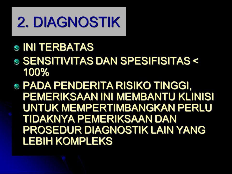 2. DIAGNOSTIK INI TERBATAS SENSITIVITAS DAN SPESIFISITAS < 100% PADA PENDERITA RISIKO TINGGI, PEMERIKSAAN INI MEMBANTU KLINISI UNTUK MEMPERTIMBANGKAN