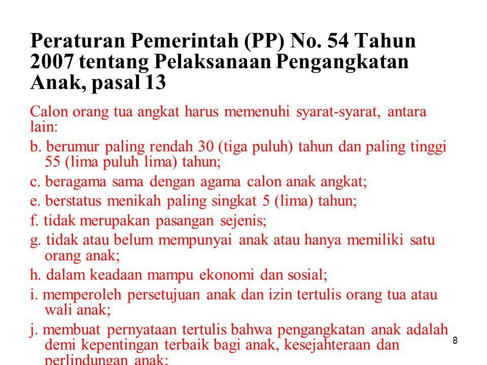 9 Pasal 12: Anak yg akan diangkat belum berusia 18 tahun.