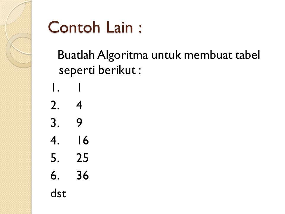 Contoh Lain : Buatlah Algoritma untuk membuat tabel seperti berikut : 1.1 2.4 3.9 4.16 5.25 6.36 dst