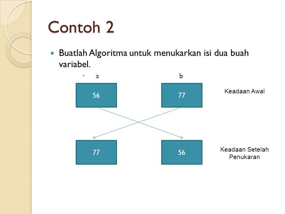 Untuk menukarkan isi 2 buah variabel diperlukan 2 variabel yang digunakan untuk membantu penukaran data.