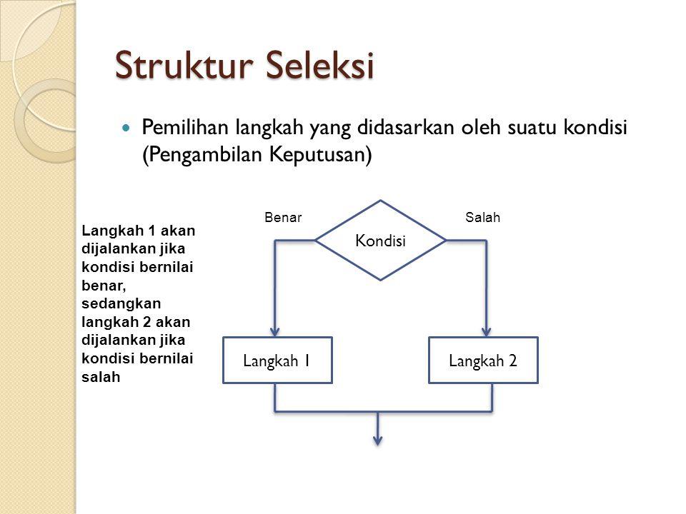 Struktur Seleksi Pemilihan langkah yang didasarkan oleh suatu kondisi (Pengambilan Keputusan) Kondisi BenarSalah Langkah 1Langkah 2 Langkah 1 akan dijalankan jika kondisi bernilai benar, sedangkan langkah 2 akan dijalankan jika kondisi bernilai salah
