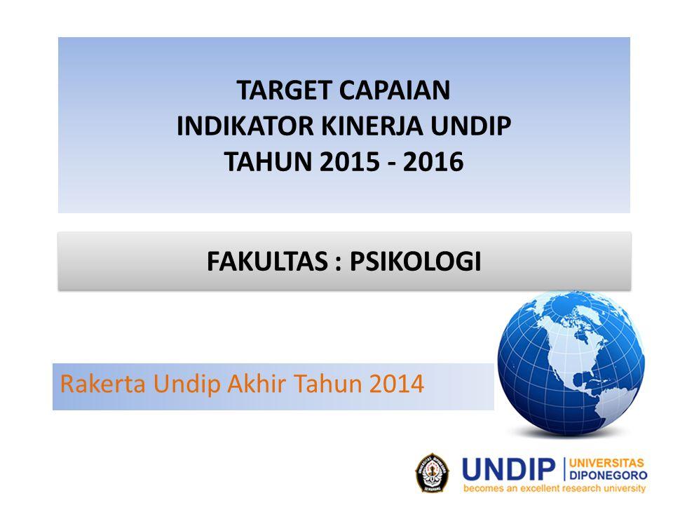 TARGET CAPAIAN INDIKATOR KINERJA UNDIP TAHUN 2015 - 2016 Rakerta Undip Akhir Tahun 2014 FAKULTAS : PSIKOLOGI
