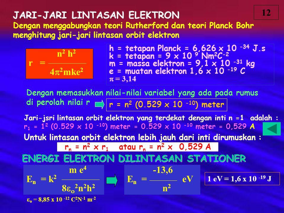 Dengan menggabungkan teori Rutherford dan teori Planck Bohr menghitung jari-jari lintasan orbit elektron n 2 h 2 r = 4  2 mke 2 h = tetapan Planck =