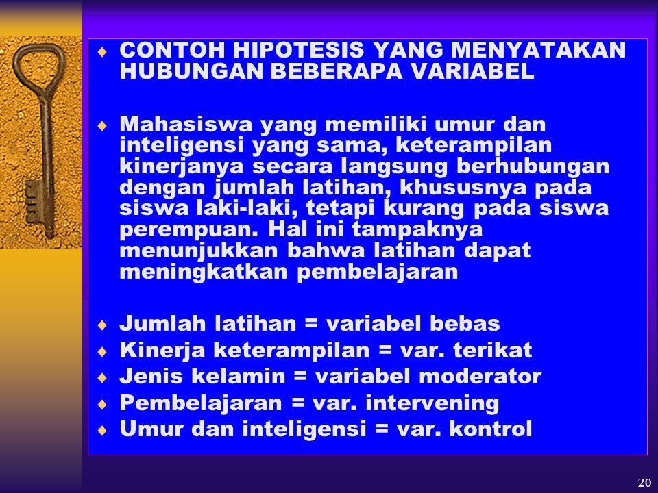 21 HIPOTESIS PENELITIAN  SYARAT-SYARAT PERUMUSAN HIPOTESIS 1.