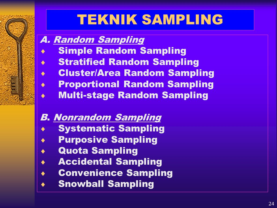 24 TEKNIK SAMPLING A. Random Sampling  Simple Random Sampling  Stratified Random Sampling  Cluster/Area Random Sampling  Proportional Random Sampl