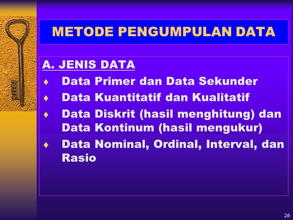 27 B.JENIS METODE PENGUMPULAN DATA 1. Observasi/pengamatan 2.