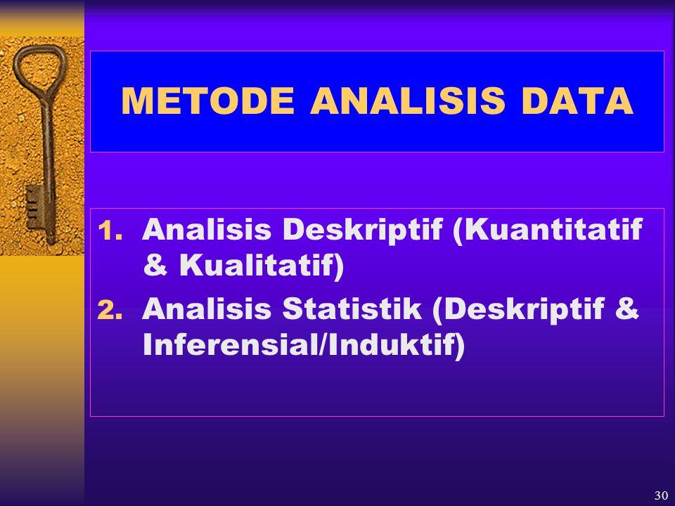31 LANGKAH-LANGKAH ANALISIS DATA 1.Verifikasi Data 2.