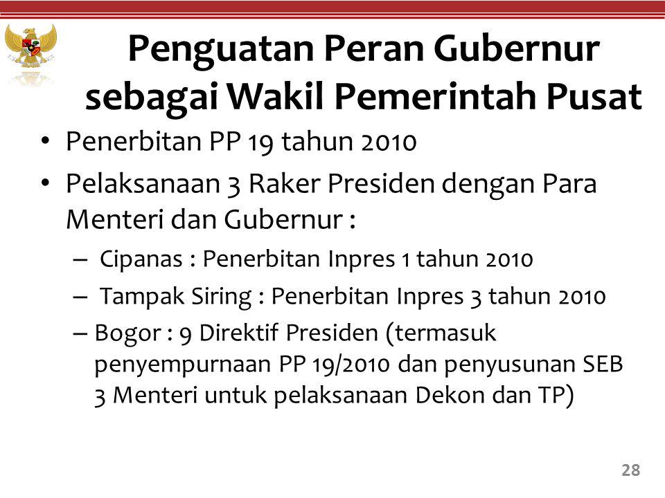 Penerbitan PP 19 tahun 2010 Pelaksanaan 3 Raker Presiden dengan Para Menteri dan Gubernur : – Cipanas : Penerbitan Inpres 1 tahun 2010 – Tampak Siring