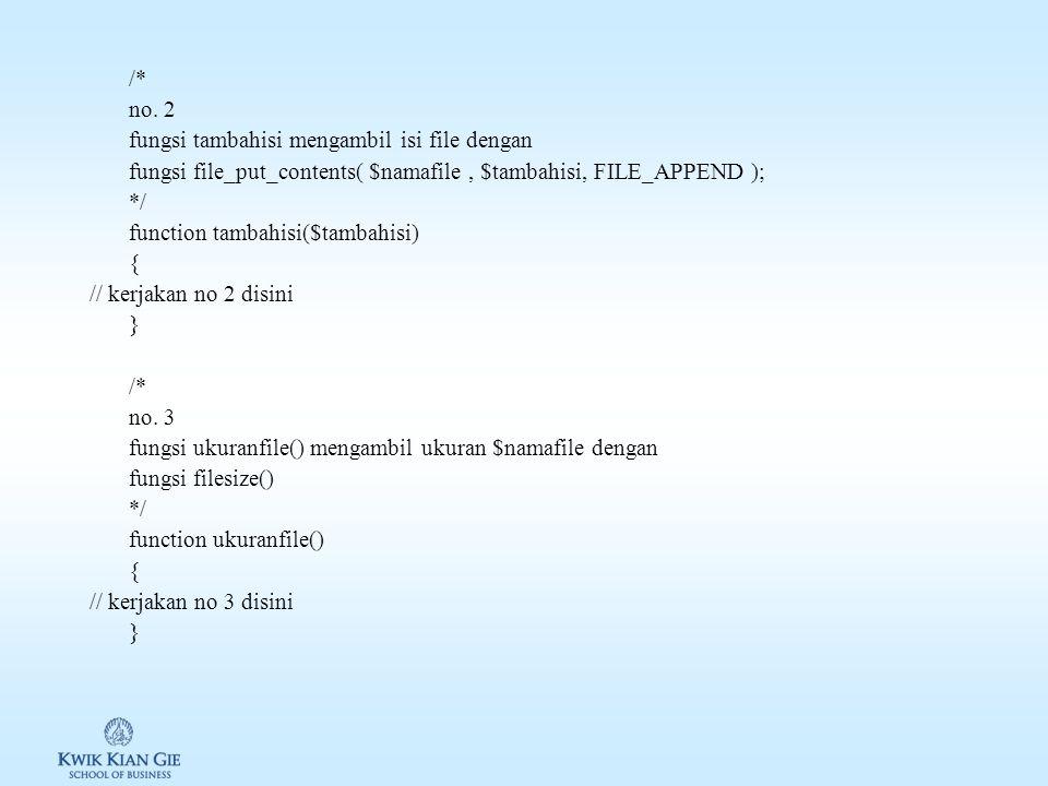 Review & Latihan W05 Bagian 1: lengkapilah file w05include.php yang berisi class aksesku <?php /* Bagian 1 class aksesku lengkapi function dibawah ini */ class aksesku { private $namafile; /* constructor object, inisiasi isi private $namafile */ function __construct($namafile) { $this->namafile = $namafile; } /* no.
