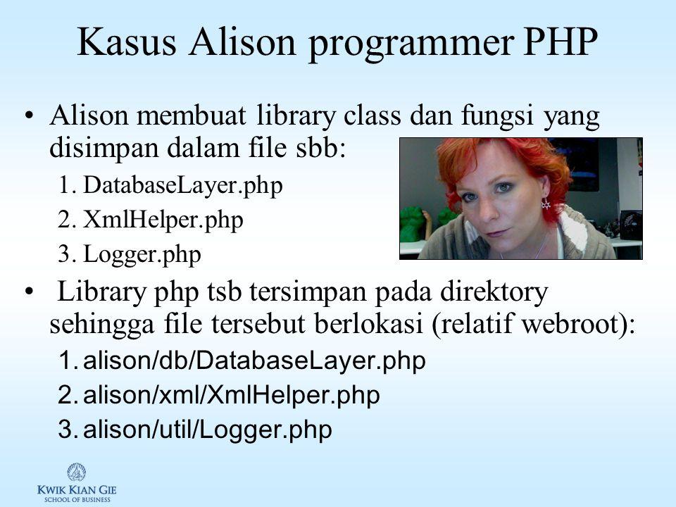 Kasus Alison programmer PHP Alison membuat library class dan fungsi yang disimpan dalam file sbb: 1.DatabaseLayer.php 2.XmlHelper.php 3.Logger.php Library php tsb tersimpan pada direktory sehingga file tersebut berlokasi (relatif webroot): 1.alison/db/DatabaseLayer.php 2.alison/xml/XmlHelper.php 3.alison/util/Logger.php