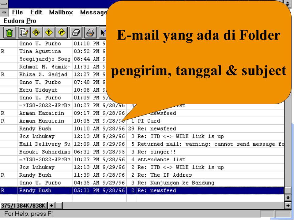 E-mail yang ada di Folder pengirim, tanggal & subject