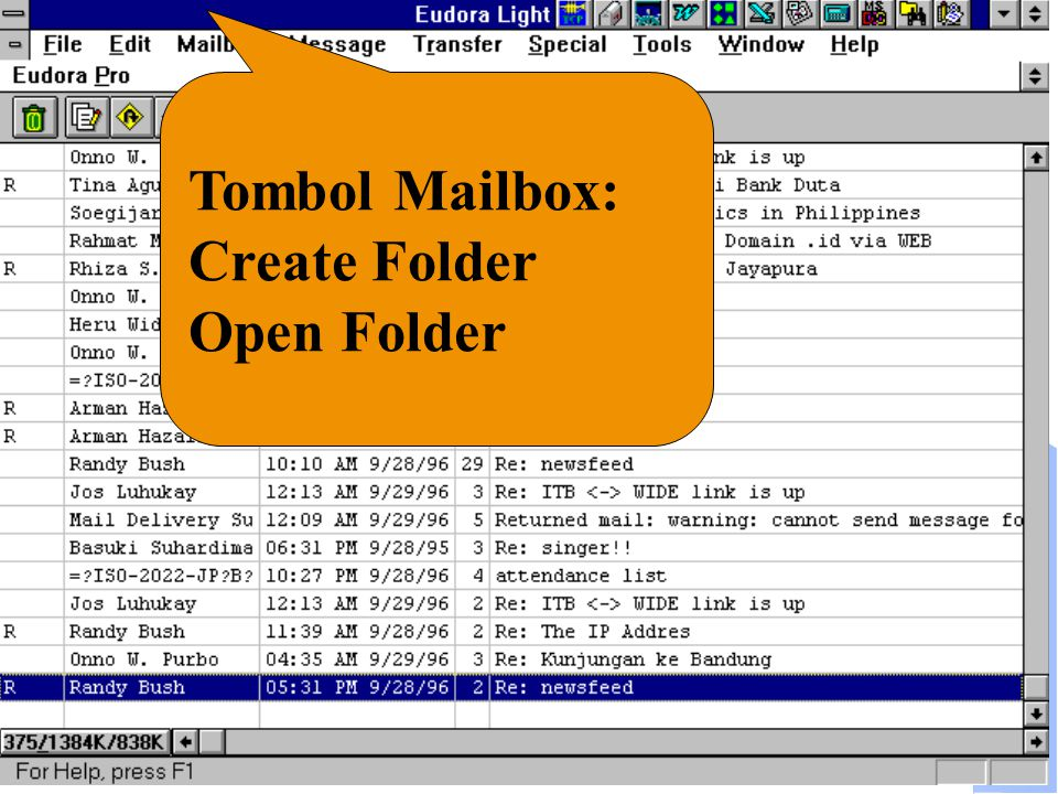 Computer Network Research Group ITB Tombol Mailbox: Create Folder Open Folder