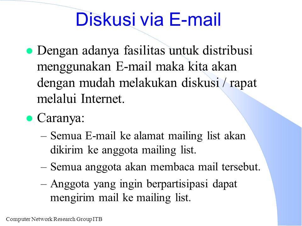Computer Network Research Group ITB Diskusi via E-mail l Dengan adanya fasilitas untuk distribusi menggunakan E-mail maka kita akan dengan mudah melakukan diskusi / rapat melalui Internet.
