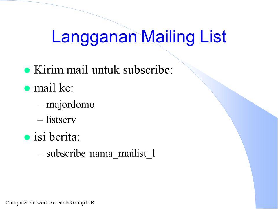 Computer Network Research Group ITB Langganan Mailing List l Kirim mail untuk subscribe: l mail ke: –majordomo –listserv l isi berita: –subscribe nama_mailist_l