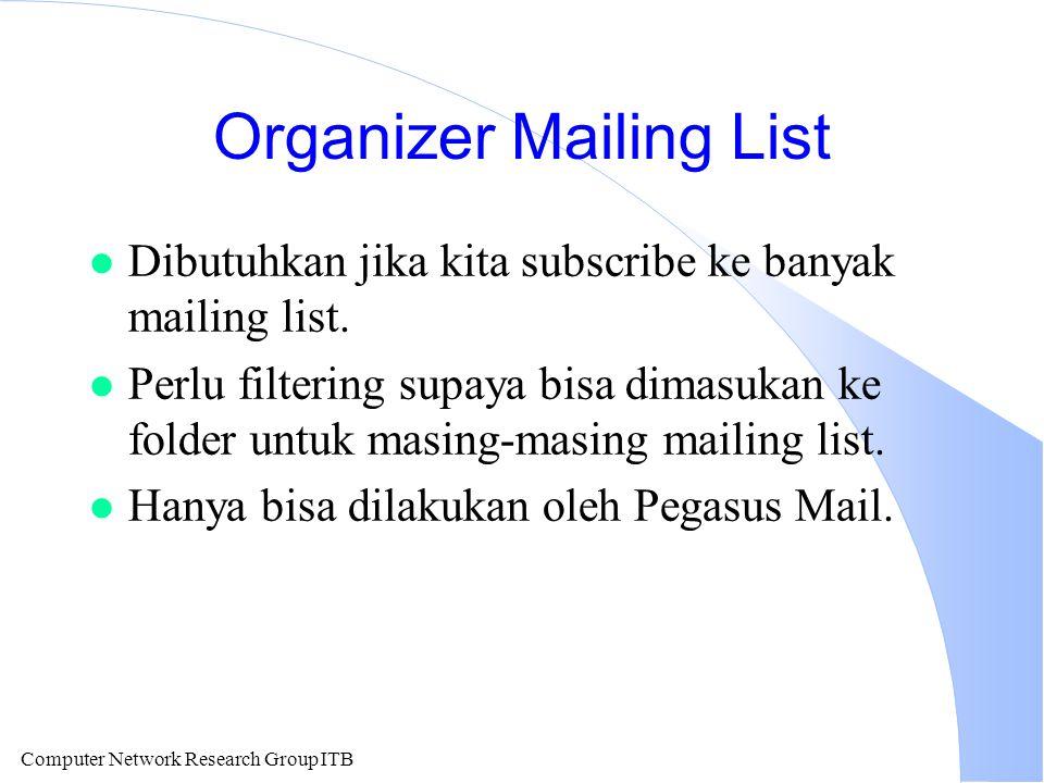 Computer Network Research Group ITB Organizer Mailing List l Dibutuhkan jika kita subscribe ke banyak mailing list.