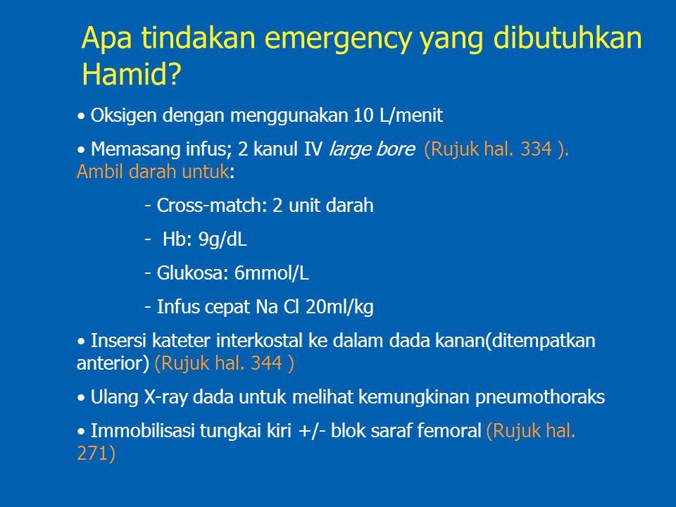 Apa tindakan emergency yang dibutuhkan Hamid? Oksigen dengan menggunakan 10 L/menit Memasang infus; 2 kanul IV large bore (Rujuk hal. 334 ). Ambil dar