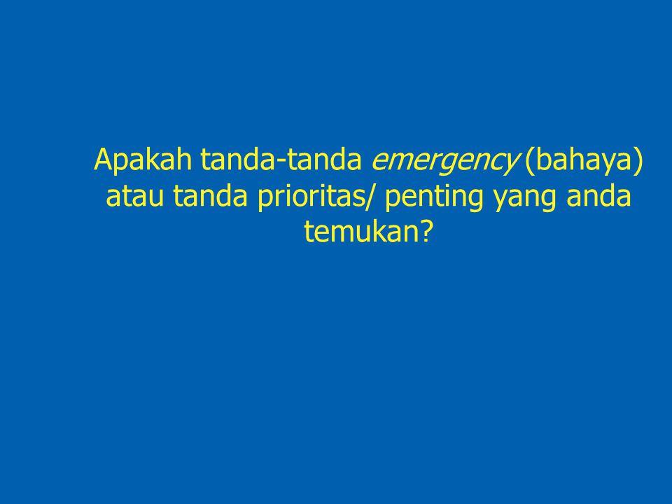 Apakah tanda-tanda emergency (bahaya) atau tanda prioritas/ penting yang anda temukan?