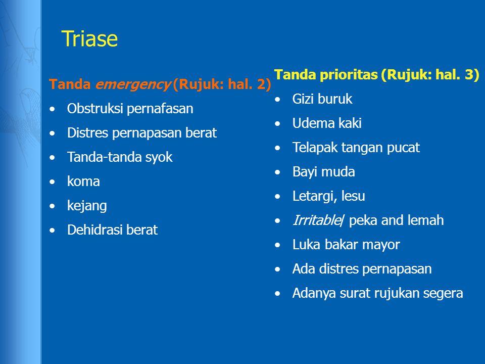 Triase Tanda emergency (Rujuk: hal. 2) Obstruksi pernafasan Distres pernapasan berat Tanda-tanda syok koma kejang Dehidrasi berat Tanda prioritas (Ruj