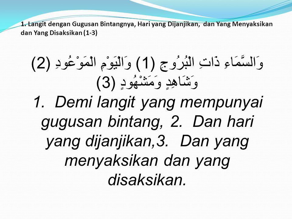 Ayat diatasnya menegaskan: Hubungan antara kejadian langit dan ancaman yang datang dari langit terhadap para pelaku kezhaliman ashabul ukhdud 1.