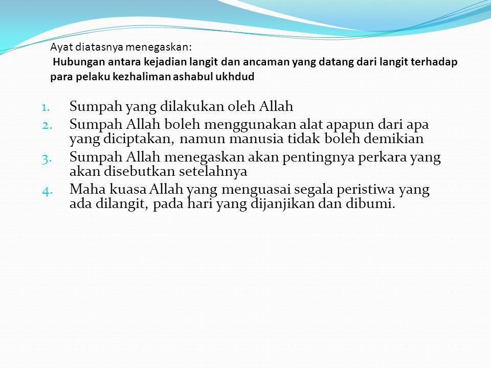 Ayat diatasnya menegaskan: Hubungan antara kejadian langit dan ancaman yang datang dari langit terhadap para pelaku kezhaliman ashabul ukhdud 1. Sumpa