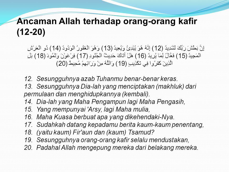 Ancaman Allah terhadap orang-orang kafir (12-20) إِنَّ بَطْشَ رَبِّكَ لَشَدِيدٌ (12) إِنَّهُ هُوَ يُبْدِئُ وَيُعِيدُ (13) وَهُوَ الْغَفُورُ الْوَدُودُ