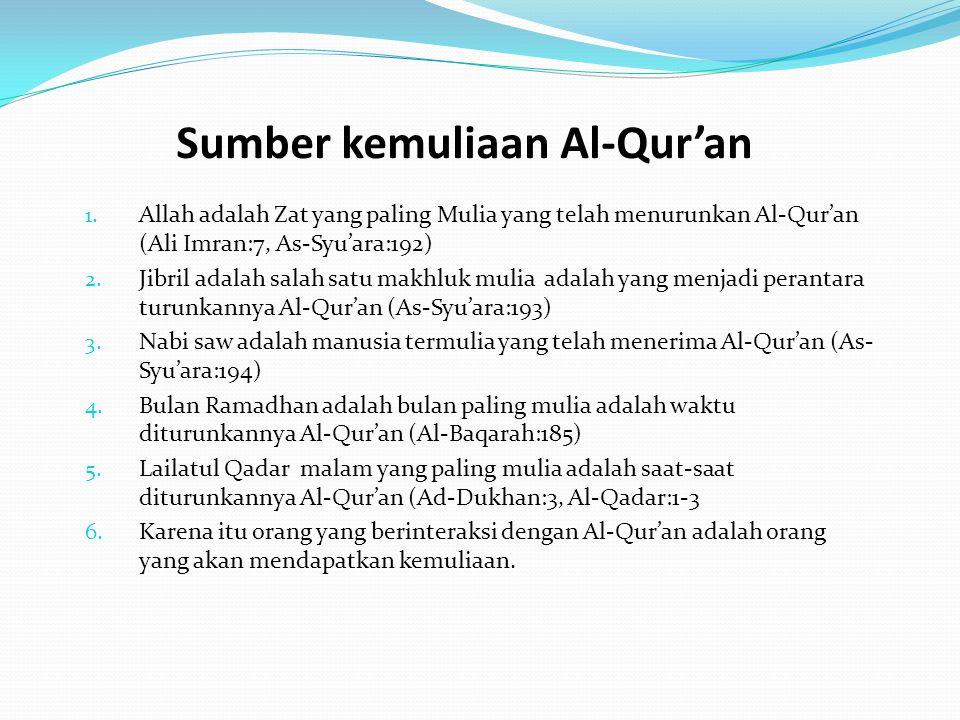 Sumber kemuliaan Al-Qur'an 1. Allah adalah Zat yang paling Mulia yang telah menurunkan Al-Qur'an (Ali Imran:7, As-Syu'ara:192) 2. Jibril adalah salah