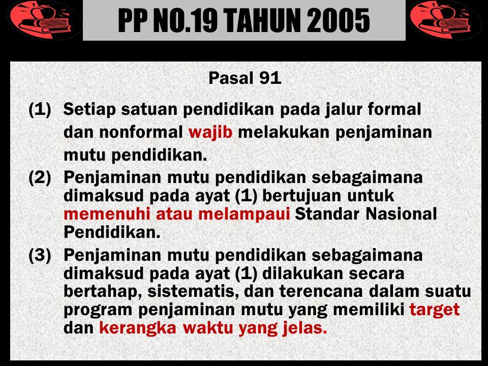 Pasal 91 (1) Setiap satuan pendidikan pada jalur formal dan nonformal wajib melakukan penjaminan mutu pendidikan.