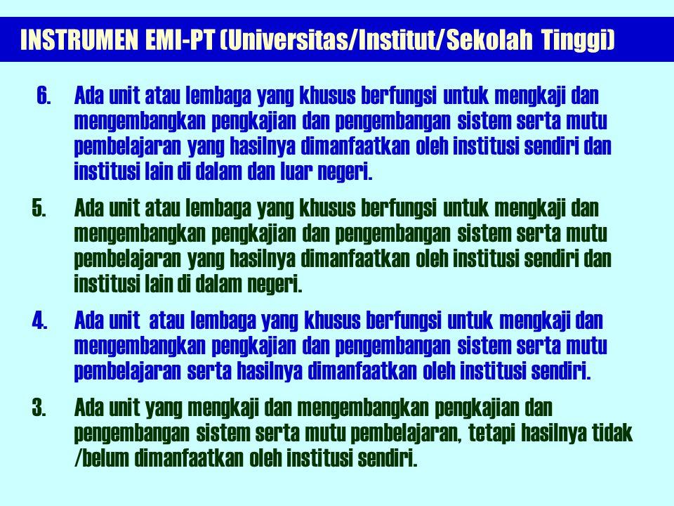 INSTRUMEN EMI-PT (Universitas/Institut/Sekolah Tinggi) STANDAR PROSES Komponen: Pengembangan Mutu Pembelajaran 2.1 Keberadaan dan fungsi unit pengkaji