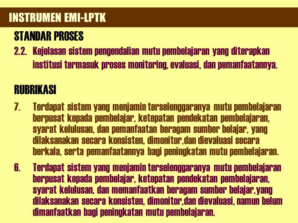 INSTRUMEN EMI-PT (Universitas/Institut/Sekolah Tinggi) 2. Ada rencana pengembangan unit yang melakukan pengkajian maupun pengembangan sistem dan mutu