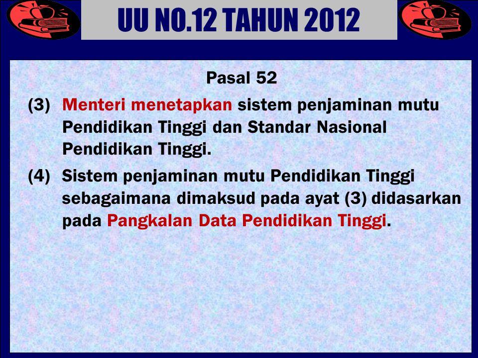 Pasal 52 (3) Menteri menetapkan sistem penjaminan mutu Pendidikan Tinggi dan Standar Nasional Pendidikan Tinggi.